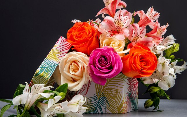 A colorful floral gift box.