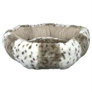"""Лежак круглый для котов и маленьких собак """"Leika"""" Trixie белый/бежевый мех/плюш 50 см."""
