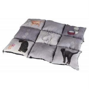 """Матрац для котов """"Patchwork"""" Trixie серый с кошками, искусственная замша 45х55 см."""