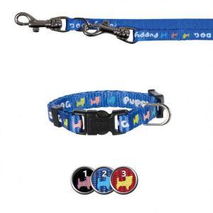 Поводок и ошейник для щенков с рисунком собачек Trixie черный, красный, синий нейлон 16-23 см./8 мм.; поводок 2,0 м.