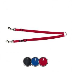 """Поводок-сворка для двух собак """"Premium"""" Trixie черный, красный, синий нейлон XS-M 40-70 см./15 мм."""
