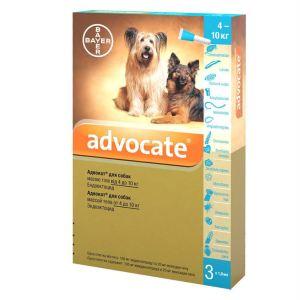 Адвокат капли от заражений эндо и экто паразитами для собак (от 4 до 10 кг) Bayer Advocate