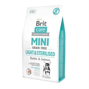 Корм для собак миниатюрных пород Brit Care GF Mini Light & Sterilised Rabbit & Salmon контроль веса