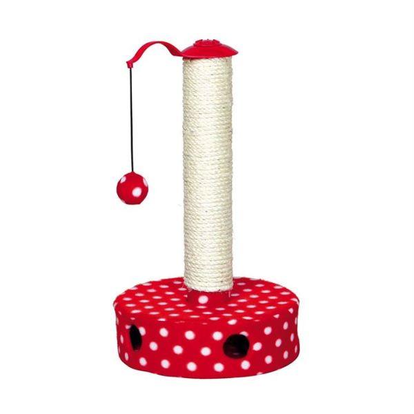 Дряпка-столбик для котят Trixie красная/белая 27х45 см.