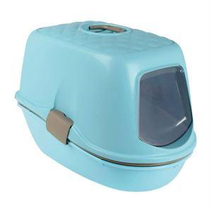 """Туалет для кошек закрытый с бортиком и сеткой """"Berto Top"""" Trixie голубой 39 x 42 x 59 см."""