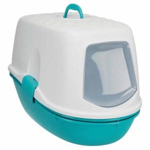 """Туалет для кошек закрытый с бортиком и сеткой """"Berto Top"""" Trixie голубой, бежевый 39 x 42 x 59 см."""