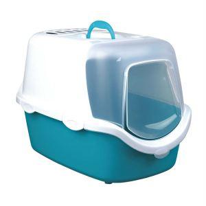 """Туалет для кошек закрытый с дверью и совком """"Vico Easy Clean"""" Trixie бирюзовый, синий 40 x 40 x 56 см."""