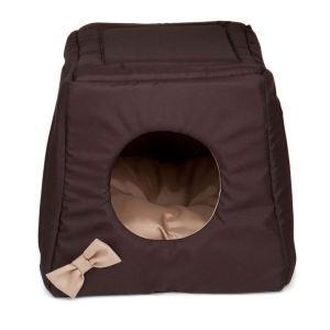 """Дом-лежак для котов и собак """"Triplre House"""" Comfy коричневый/бежевый, корич/лимон, корич/розовый 43х43х39 см."""