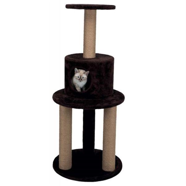 """Дряпка с домиком для кошек """"Elicio"""" Trixie темно-коричневая, велюр, плюш, джут 113 см."""