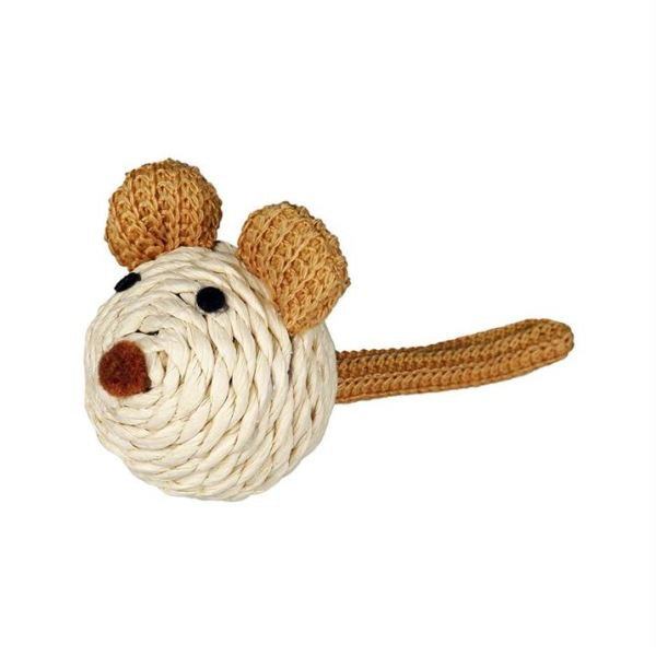 Игрушка для кошек Мышка с погремушкой Trixie бумажная пряжа 5 см.