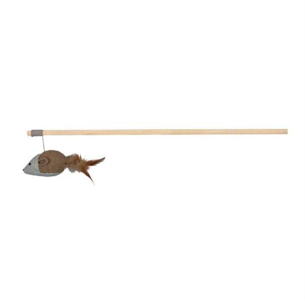 Игрушка для кошек Палочка с мышкой из ткани и перьями Trixie 50 см.