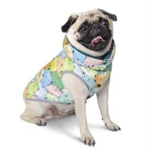 """Жилет для собак Pet Fashion """"Марко"""" двухсторонний, зеленый/котики, металлик/звёзды 2018"""