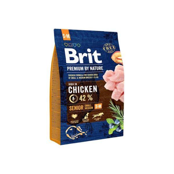 Сухой корм для стареющих собак мелких и средних пород Brit Premium Dog Senior S + M