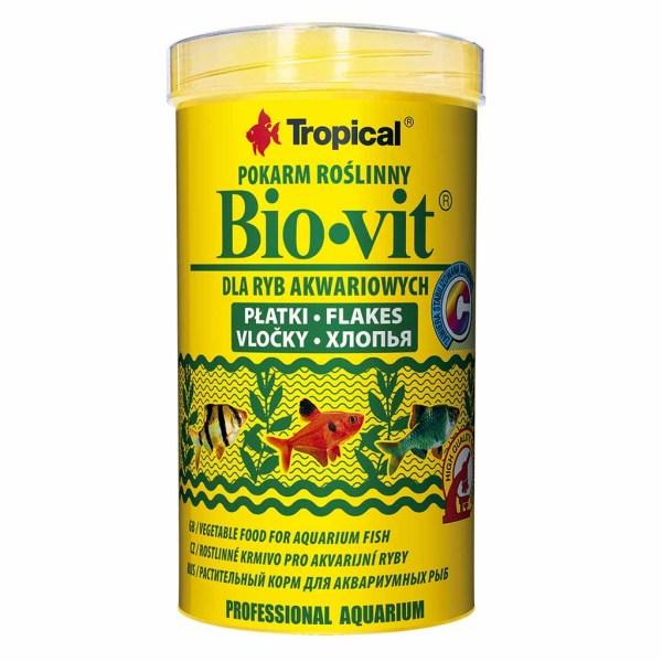 Сухой корм для аквариумных рыб в хлопьях Tropical Bio-Vit (для травоядных рыб)