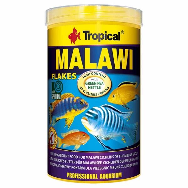 Сухой корм для аквариумных рыб в хлопьях Tropical Malawi (для травоядных цихлид)