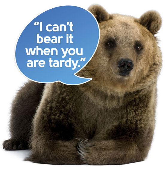 """Female Brown Bear, 8 years old, lying down against white background says """"I can't bear it when you are tardy."""""""