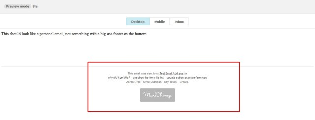 email with Mailchimp footer