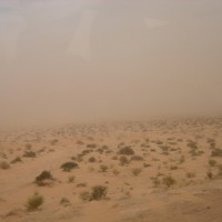 Roepende in een zandstorm in de woestijn