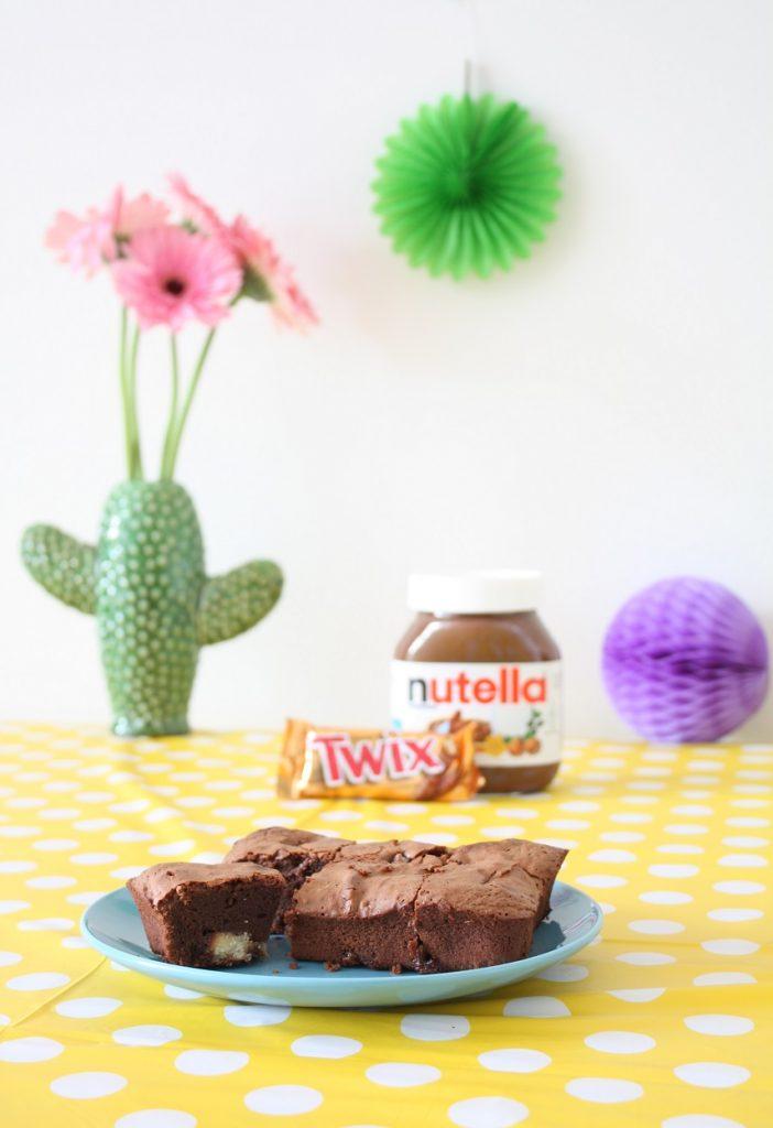 simpele Twix Brownie met Nutella