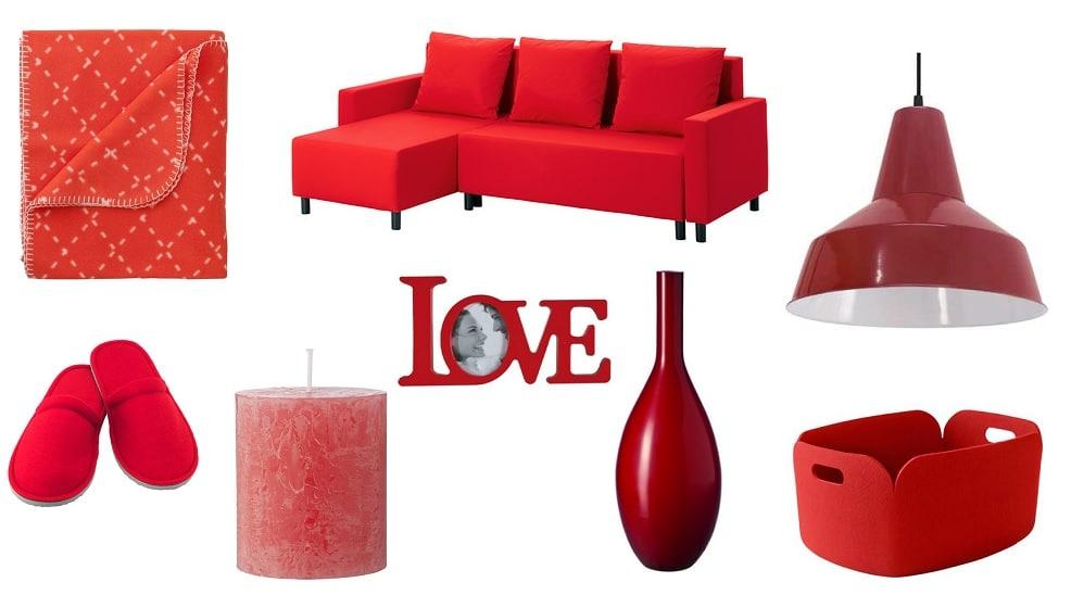 rood in de woonkamer