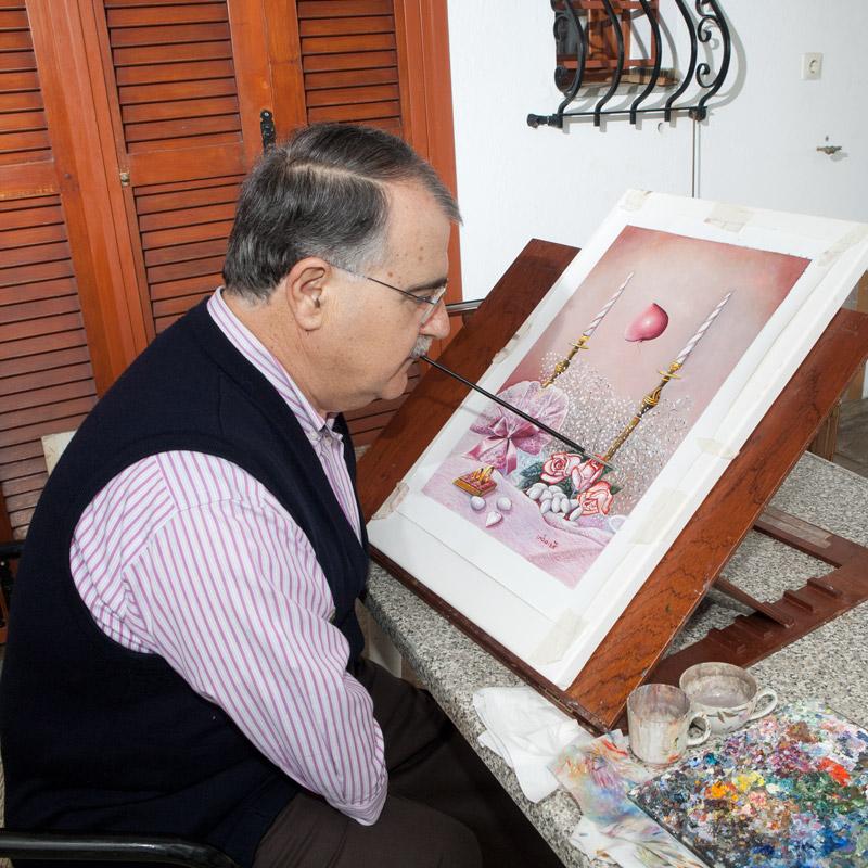 Τριαντάφυλλος Ηλιάδης, Ζωγραφική με το στόμα και το πόδι