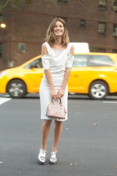 NEW YORK, NY - SEPTEMBER 07: Photographer/Blogger Hanneli Mustaparta wears a Edun dress with a Louis Vuitton bag and Acne shoes after Edun on Day 4 of New York Fashion Week Spring/Summer 2015 on September 7, 2014 in New York City. (Photo by Melodie Jeng/Getty Images)