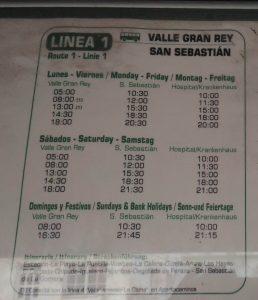 La Gomera - rozkład jazdy autobusów