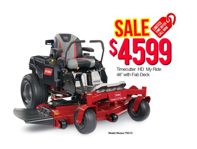 "Toro 75213 Time Cutter HD My Ride 48"" with Fab Deck $4599"