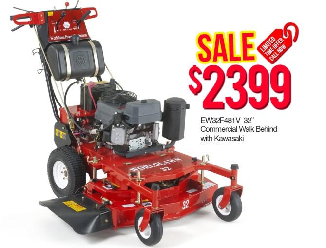 "World Lawn EW32F481V 32"" Commercial Walk Behind with Kawasaki $2399"