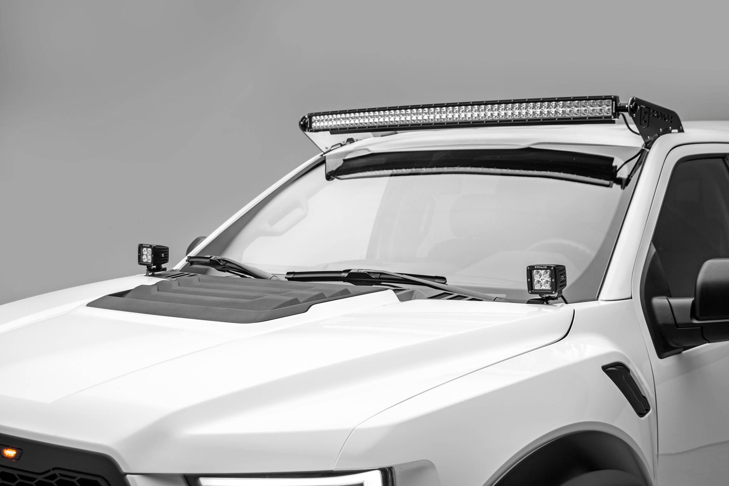 2015 2021 ford f 150 raptor front roof led bracket to mount 52 inch curved led light bar pn z335662