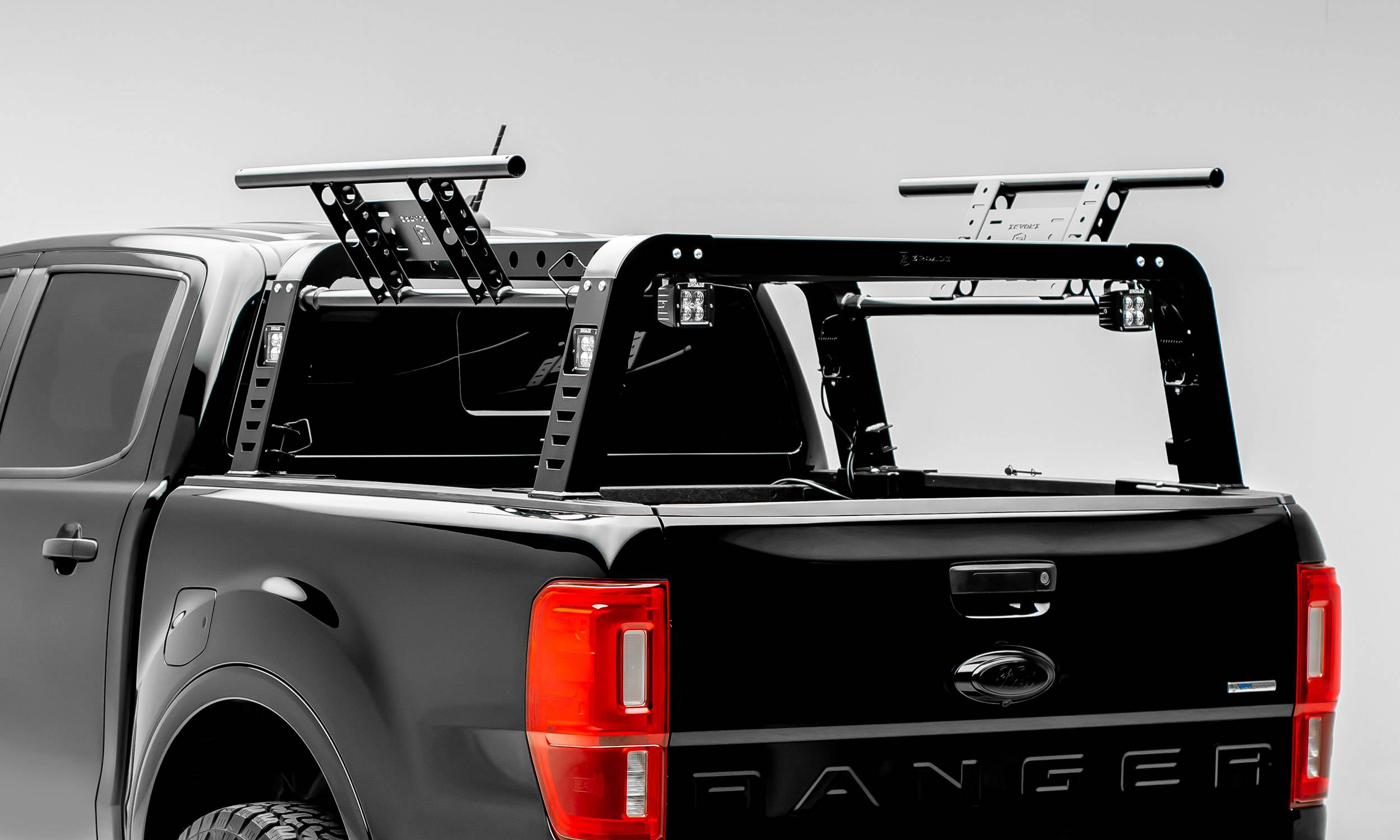 2019 2021 ford ranger overland access rack with two lifting side gates and 4 3 inch zroadz led pod lights pn z835101
