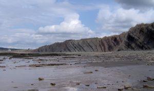 Осадові поклади в Джоггінсі, Нова Шотландія (Канада). Пласти мають нахил близько 30 градусів і укладені вертикально більш ніж на кілометр углиб