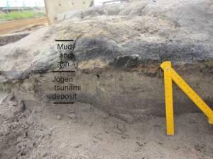 Осадова порода товщиною 20-30 см як результаті цунамі, що обрушилося на Японію в 859 р. н.е. Взято з сайту Британської геологічної служби