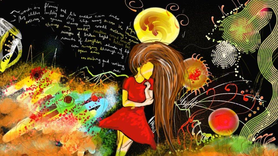Digitální malba hnědovlasé dívky v červených šatech, která stojí ve vesmírné krajině plné barevných tvarů a za ní se line text písně Across the Universe.