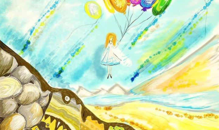 Digitální malba dívky, která drží spoustu balonků, které ji unáší k obloze, zatímco se zpoza hory, která stojí pod ní, podivně kouká modrý kámen...