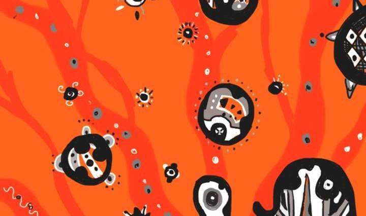 Abstraktní digitální malba, černobílá na oranžovém pozadí, připomínající bubliny v lávové lampě.