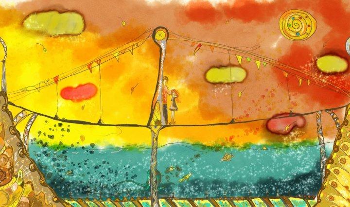 Digitální malba tenkého mostu, pod kterým protíká řeka. Slunce zapadá a na mostě uprostřed stojí pilíř, vedle kterého stojí zrzavá holka a vysoká mužská postava.