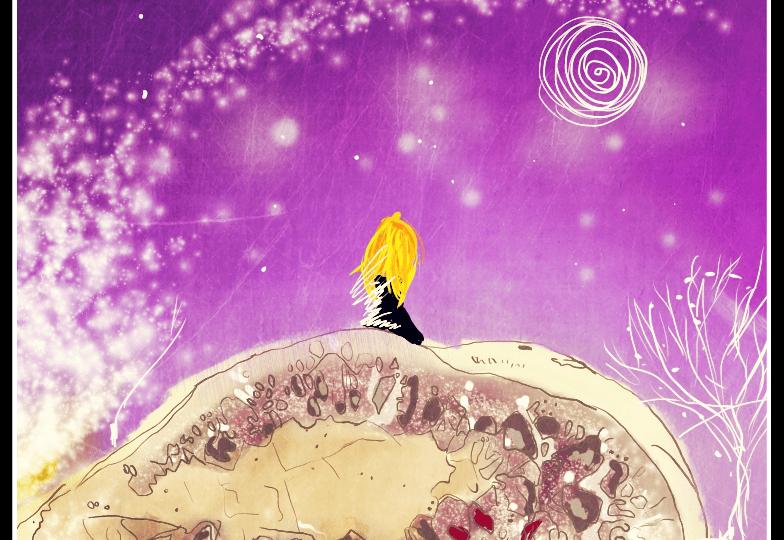 Zrzavá holka na digitální malbě v tmavě fialové noci sedí na obrovském kameni s mnoha růžovými a bílými detaily.