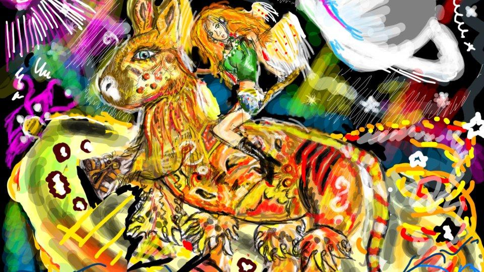 Velmi komplexní digitální malba vesmírné krajiny, ve které je hrozná spousta barev, uprostřed stojí chlupaté veliké zvíře podobné koni, které je oranžové, a na něm sedí zrzavá holka.