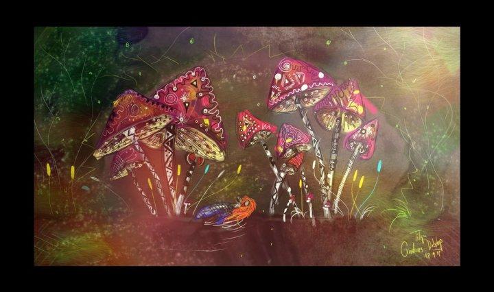 Digitální malba zrzavé holky a druhé postavy ležící pod spoustou hub s fialovými klobouky v tmavozeleném lese se spoustou světýlek.