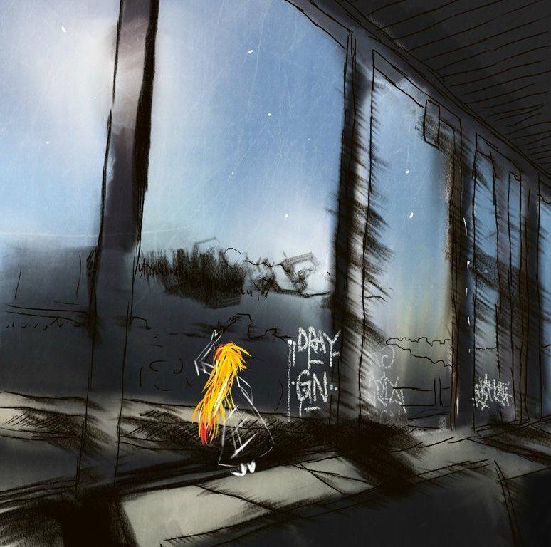Zrzavá holka sedící v proskleném koridoru metra Kačerov ve tmě - digitální malba.