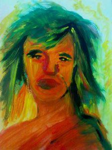 Fauvistický portrét ženy s oranžovou pletí a zelenomodrými krátkými vlasy.