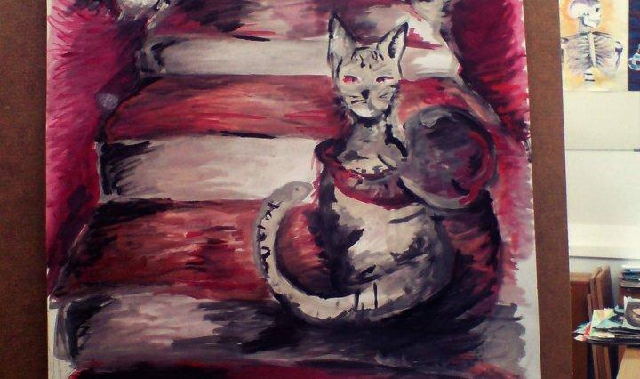Malba schodů, na kterých sedí jedna mourovatá šedá kočka, a druhá, mnohonásobně větší, vykukuje zpoza schodů.