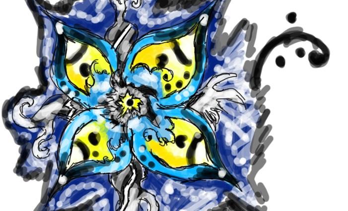 Digitální malba modrožluté květiny.
