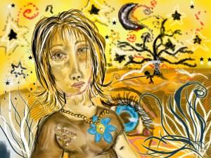 Digitální malba v naivním stylu, zlatožluté pozadí a na něm měsíc a krajina se stromem, v popředí stojí dívka s krátkými hnědými vlasy a snědou pletí a modrou květinovou broží.