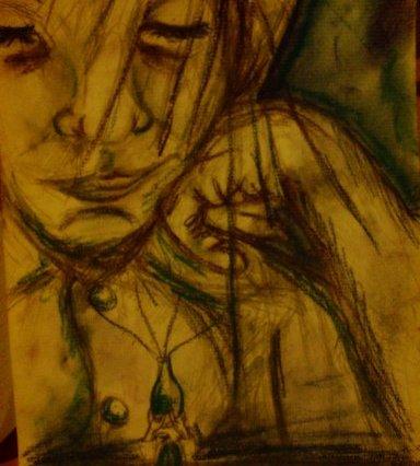 Malba pastelem, na které se sklání dívka se zavřenýma očima nad miniaturní vázičku.