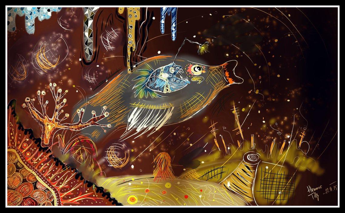 Digitální malba na tmavě hnědém pozadí, jde o mořský výjev, kde je obrovská ryba, která jen prosvítá tmou, kolem ní jsou různé malé detaily a korály.