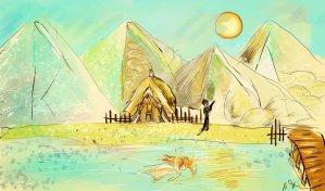 Digitální malba chladného dne, na kterém zrzavé holka plave uprostřed jezera, v pozadí vidíme modrobílé hory, mužskou postavu s kytarou a chatu, která je schovaná v horách.