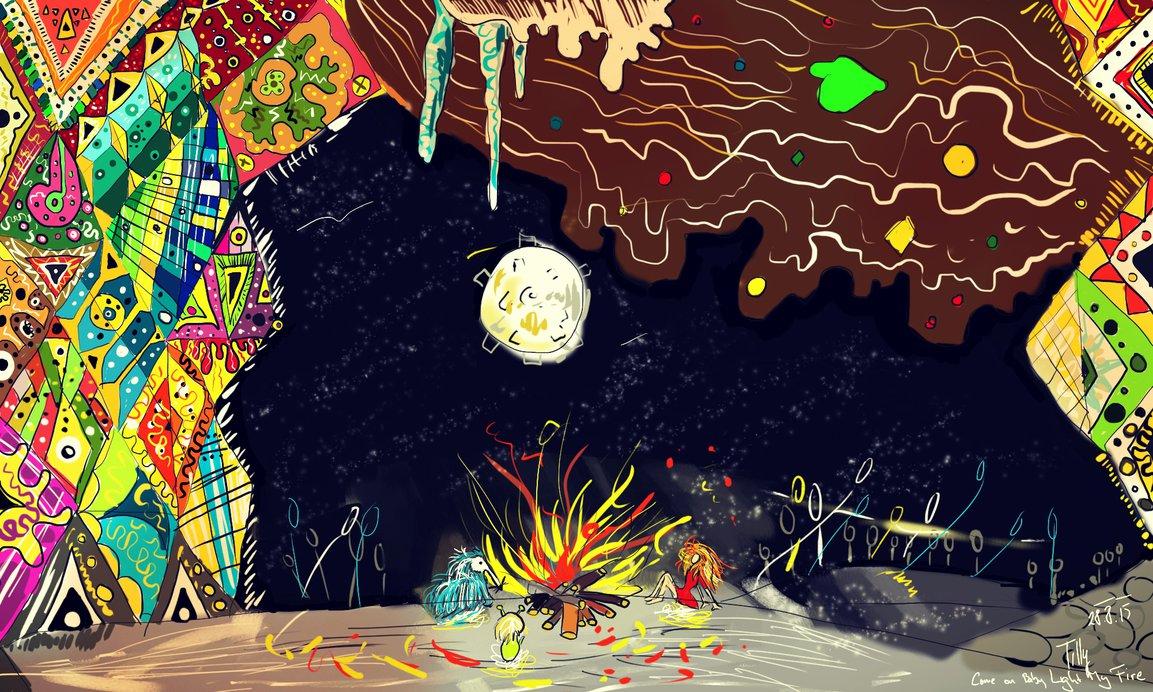 Malba zrzavé holky a malých zvířátek u ohně v jeskyni v noci.