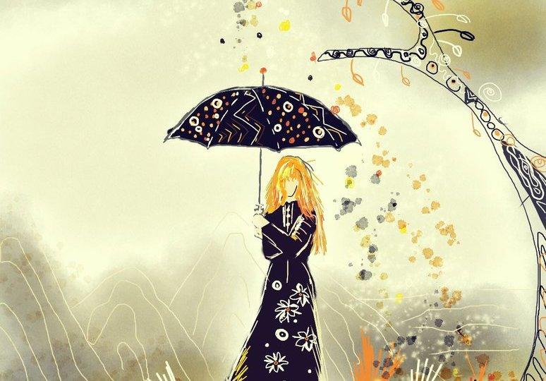 Digitální malba zrzavé holky v černých šatech s černým deštníkem, prší na ni z nebe, které je šedé, konfety v oranžové a černé barvě.